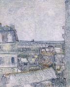 1887 Prints - View from Vincents room in the Rue Lepic Print by Vincent van Gogh