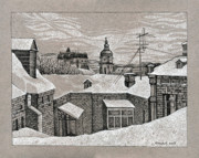 Bricks Drawings - View from window. Kiev by Olena Chernyshova