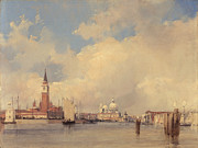 Venetian Architecture Paintings - View in Venice with San Giorgio Maggiore by Richard Parkes Bonington