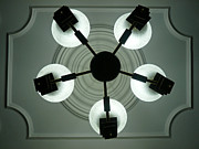View Of 5 Bulb Chandelier Against A Decorated Ceiling From Underneath Print by Ashish Agarwal