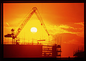 Milton Keynes Prints - View Of A Construction Site At Sunset Print by Jeremy Walker