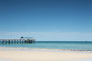 Vacations Prints - View Of A Pier From A Sandy Beach Print by Caspar Benson