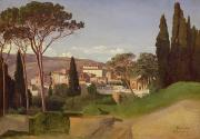 Tuscan Hills Painting Framed Prints - View of a Villa Framed Print by Jean Achille Benouville