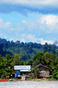 Borneo Digital Art Prints - View Of A Village On The Banks Of The River Print by Antoni Halim