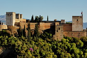 Alhambra De Granada Framed Prints - View of Alcazaba citadel and the Alhambra Palace from the Plaza of St Nicholas Framed Print by Sami Sarkis