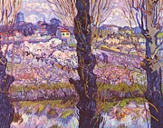 Orchards Painting Prints - View of Arles Print by Pg Reproductions