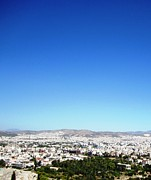 Neo-classical Posters - View of Athens from High Above on Acropolis Hilltop in Greece Poster by John A Shiron