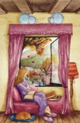 Purple Couch Posters - View of Autumn Scene Poster by Evelyn Sichrovsky