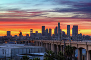 Los Angeles Skyline Framed Prints - View Of Bridge At Dusk Framed Print by Shabdro Photo