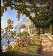Oil Wine Framed Prints - View of Capri Framed Print by Theodore Aligny