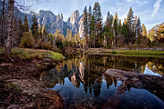"Merced River Prints - View Of Cathedral Peaks Print by ""photos by Crow"" Carol Rukliss, Photographer"