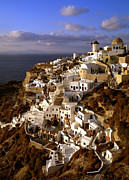 Oia Framed Prints - View of city of Oia on Santorini Island Framed Print by Cliff Wassmann