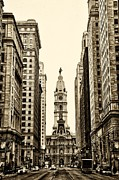 Broad Prints - View of Cityhall from Broad Street in Philadelphia Print by Bill Cannon