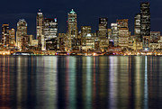 Seattle Waterfront Framed Prints - View Of Cityscape At Night Framed Print by Stephen Kacirek