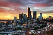 Seattle Skyline Art - View Of Columbia Tower by Stephen Kacirek