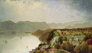 New York State Painting Framed Prints - View of Cozzens Hotel Near West Point - NY Framed Print by John Frederick Kensett