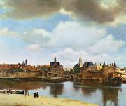 Bank Framed Prints - View of Delft Framed Print by Jan Vermeer