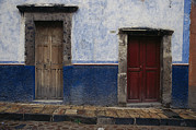 City Streets Prints - View Of Doorways In San Miguel De Print by Gina Martin