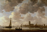 Boats In Water Painting Posters - View of Dordrecht Downstream from the Grote Kerk Poster by Jan Josephsz van Goyen