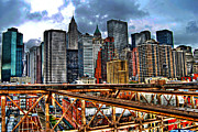 Lower Manhattan Framed Prints - View of Downtown Manhattan Framed Print by Randy Aveille