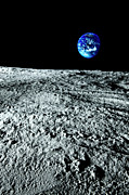 Moon Surface Prints - View Of Earth From The Moon Print by Caspar Benson