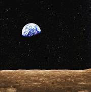 Celestial Objects Prints - View Of Earth From The Moons Surface Print by Don Hammond