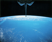 Black Top Framed Prints - View Of Earth From The Space Shuttle Framed Print by Stockbyte