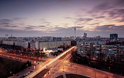 Berlin Prints - View Of East Berlin Skyline Print by Spreephoto.de