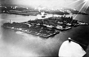 Csx Framed Prints - View Of Ellis Island From Airplane, New Framed Print by Everett