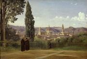 Tuscan Landscapes Framed Prints - View of Florence from the Boboli Gardens Framed Print by Jean Baptiste Camille Corot