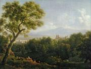Goats Paintings - View of Frascati by Jean Bidauld