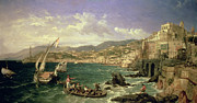 Boats On Water Framed Prints - View of Genoa Framed Print by William Parrott
