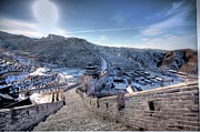 Winter Framed Prints - View Of Great Wall Framed Print by Photograph by Sunny Ip.