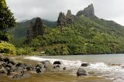Marquesas Islands Prints - View Of Hatiheu Bay And Surrounding Print by Tim Laman