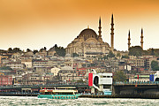 Dusk Framed Prints - View Of Istanbul Framed Print by (C) Thanachai Wachiraworakam