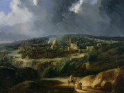 Stormy Sky Framed Prints - View of Jerusalem from the Valley of Jehoshaphat Framed Print by Auguste Forbin