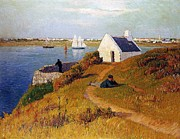 Reclining Paintings - View of Lorient in Brittany by Henry Moret