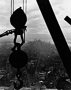 New York Photos Posters - View of Lower Manhattan from the Empire State Building Poster by LW Hine