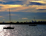 Boats On Water Digital Art Posters - View of Manhattan From City Island Bronx NY Poster by Dale   Ford