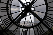 European Photo Prints - View of Montmartre through the clock at Museum Orsay.Paris Print by Bernard Jaubert