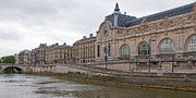 Museum Orsay Clock Posters - View of Musee dOrsay from Seine River Poster by Kent Sorensen