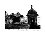 Puerto Rico Drawings Framed Prints - View of Old San Juan Framed Print by Angel Serrano