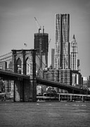 Suspension Framed Prints - View Of One World Trade Center And Brooklyn Bridge Framed Print by Matt Pasant