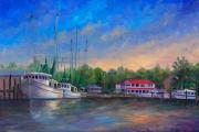 Shrimp Boat Paintings - View of Oriental NC Marina by Jeff Pittman