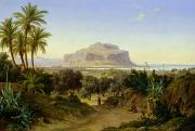 Mountain Road Painting Posters - View of Palermo with Mount Pellegrino Poster by August Wilhelm Julius Ahlborn