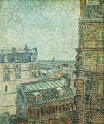 Poster From Digital Art Metal Prints - View of Paris from Vincents Room in the  Metal Print by Vincent Van Gogh