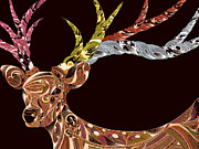Bizarre Color Posters - View Of Patterned Deer Against Black Background Poster by Yosuke