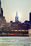 Philadelphia Digital Art Metal Prints - View of Philadelphia City Hall from Camden Metal Print by Bill Cannon