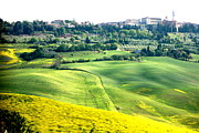 Tuscan Hills Framed Prints - View of Pienza Framed Print by  K Scott Williamson
