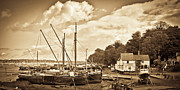 Repairs Framed Prints - View of Pin Mill from Kings Yard sepia Framed Print by Gary Eason